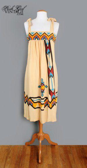 native american wedding dresses images | 1970's Indian Native American Vintage Festival Tent Dress - M