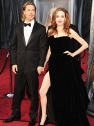 Angelina Jolie, please eat a real meal! Your arms are too skinny. Your dress is amazing but you are too thin!