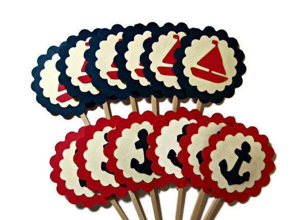 Ancres et voiliers Cupcake Toppers soirée à thème par PartyGarnish