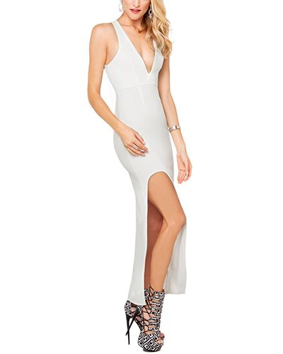 White Deep V Neck Cross Back Bodycon Maxi Dress With Side Slit DR0150518-1