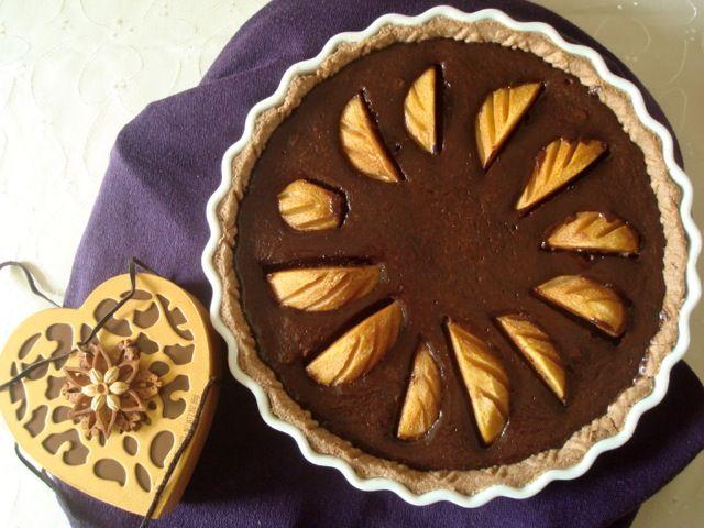 Hruškový koláč s čokoládovým custardem ve skořicovém těstě | Pear, Chocolate Custard and Cinnamon Crust Tart - www.vune-vanilky.cz