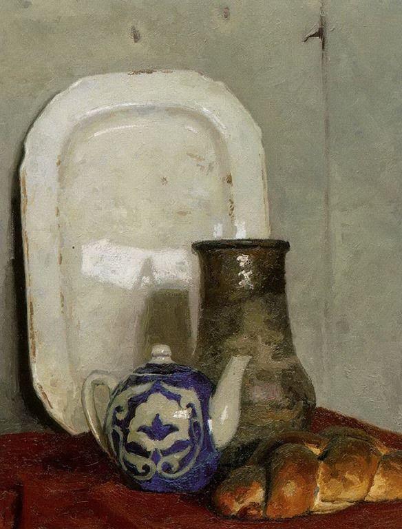 Гелий Михайлович Коржев (1925-2012). Чайник и старый русский кувшин. Холст, масло, 63,5х79 см. 1977  Музей Русского искусства, США, Миннеаполис