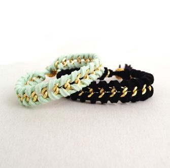 Jewelry DIY: Suede and Chain Woven Bracelet Tutorial