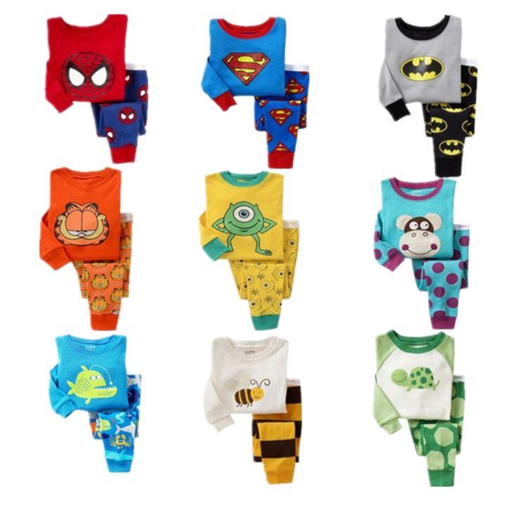 Дети пижамы набор детей девочки мальчики Мультфильм Повседневная пижамы infantil дети Человек-Паук Бэтмен Пижамы Пижамы детская одежда #jewelry, #women, #men, #hats, #watches, #belts
