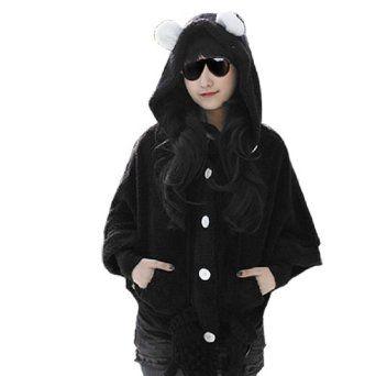 Allegra K Women Black Plush Fluffy Hooded Single Breasted Cloak Coat S Allegra K. $15.49