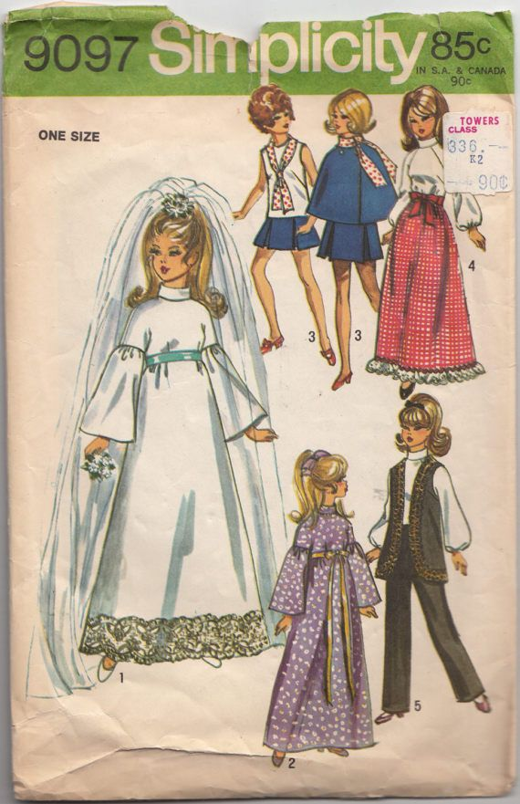 1970s Doll Wardrobe Sewing Pattern Simplicity 9097 Vintage