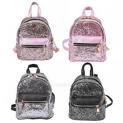 Fashion-Women-PU-Leather-Sequins-Backpack-Teen-Girls-Casual-Mini-Small-Schoolbag