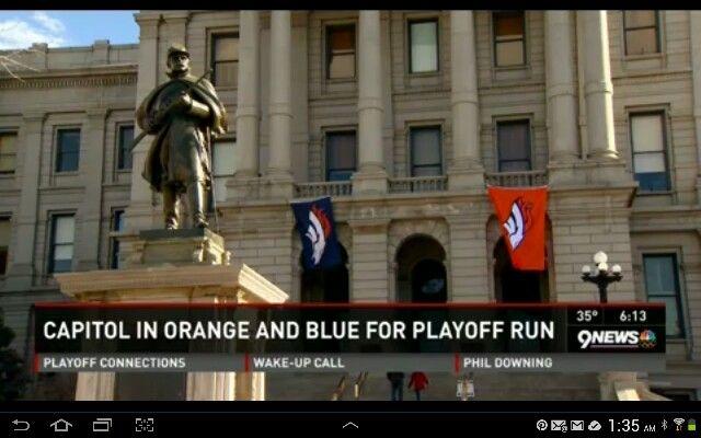 Colorado Capitol Building dressed for Bronco playoffs!  1/10/14