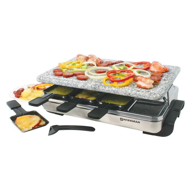Swissmar Stelvio Raclette 8 Person Party Grill - Granite Stone and Stainless Steel - KF-77081