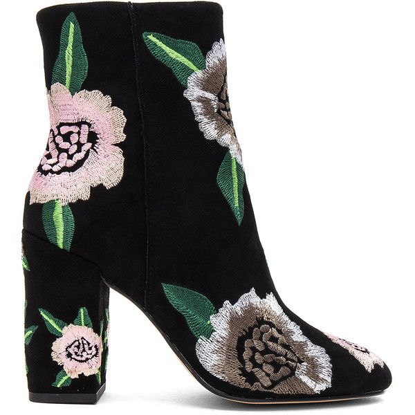Rebecca Minkoff Bryce Embroidered Bootie (183.795 CLP) ❤ liked on Polyvore featuring shoes, boots, ankle booties, zapatos, ankle boot, booties, side zip boots, high heel ankle booties, fake boots and synthetic boots