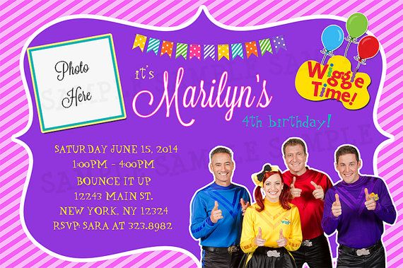 The New Wiggles Birthday Invitation  Personalized by instantparty