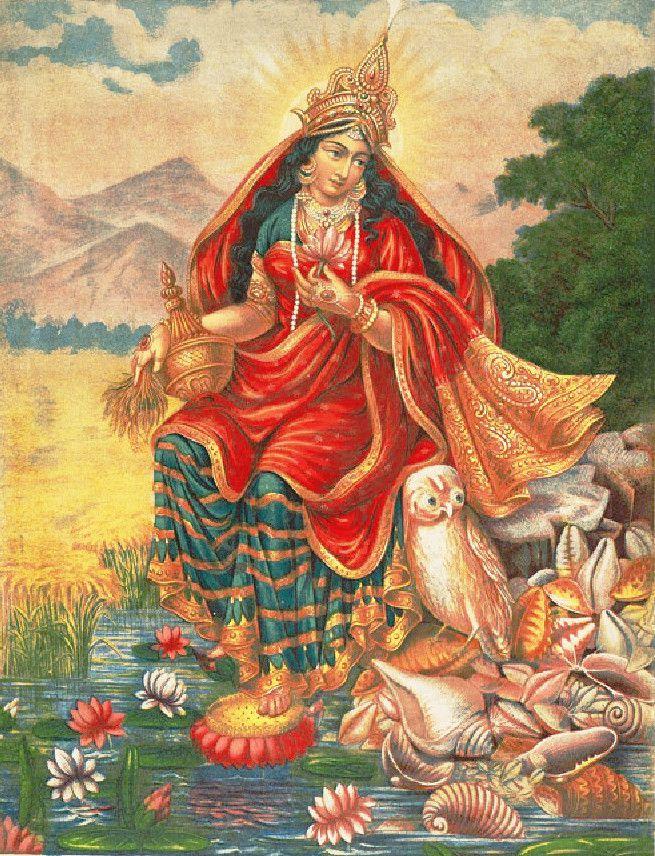 "hinducosmos: ""Lakshmi with her owl 1871-1930, Chromolithograph, Calcutta Art Studio """