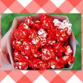 Pipoca doce vermelha com leite de coco
