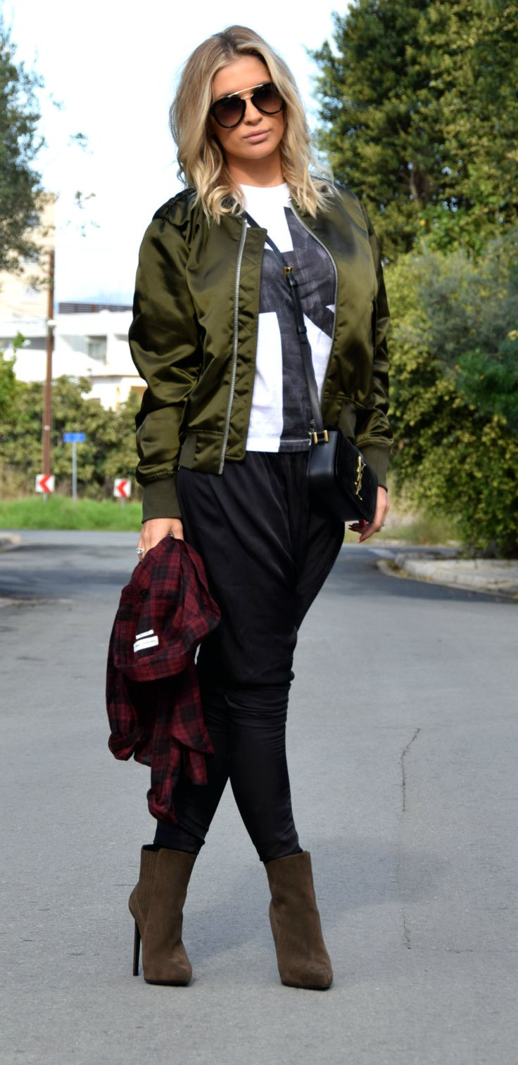 Bomber jacket/Acne Tee/Acne Shirt/Isabel Marant Shoes/Saint Laurent Bag/Saint Laurent Sunnies/Prada