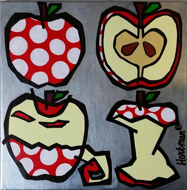 kleurrijk schilderij, kleurrijke schilderijen, vrolijk schilderij, popart, Appels
