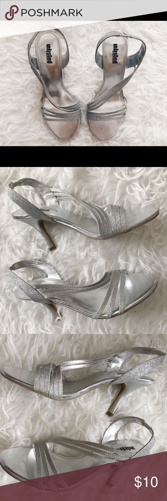 Unlisted: Silver sparkly heels Silver sparkle heels perfect for HC, Prom, and formal events. Elastic sling back Unlisted Shoes Heels #promheelssparkly #promheelssilver