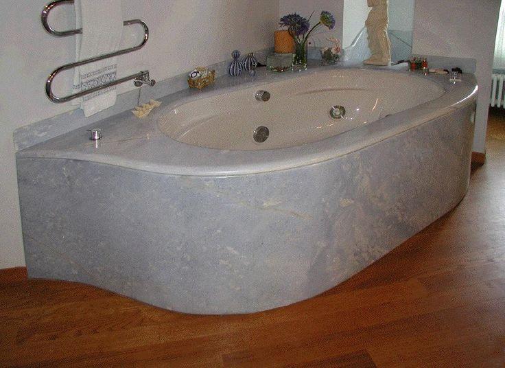 1997 Vasca in marmo Azul Cielo ricavata fresando porzioni di massello  - /- realizzazione BlancoMarmo.it / Arredi realizzati da Oggetti.it / design by LauroGhedini.com