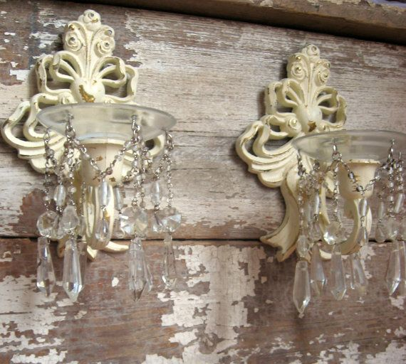 Wall Sconce Chandelier Mural : Shabby Chic Wall Sconces, Elegant, Crystal, Chandelier