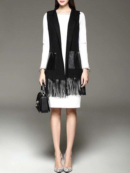 Black Paneled Wool Cardigan Vest