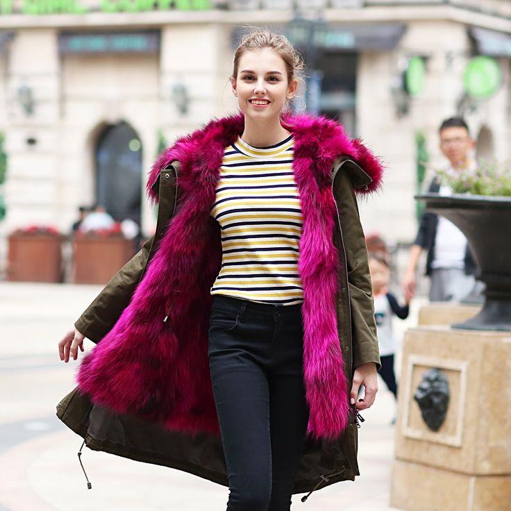 Warm Winter New Spring Fashion Parkas Women's Detachable Fox Fur Lined Coat Luxurious Fox Fur Hooded Collar Coat X-Long Jacket