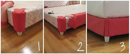 If you can't find a bed-skirt to fit your bed, or you don't really like the look of a bed-skirt this next idea is for you....You can use what ever fabric you love and upholstery the bed-skirt. Staple gun and Velcro strips are the answer here!! This would be an easy and fast project for a Saturday!!