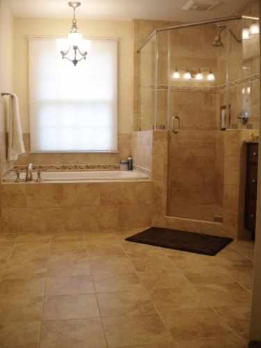 drop-in tub, tile surround, corner shower. This is how I want to re-model my shower. It's so small right now!