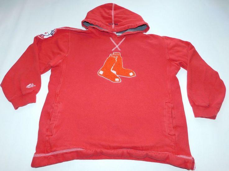 Majestic Boston Red Sox BOys Hoodie SIze 14/16 MLB Baseball red Glove Sleeve Gym #Majestic #BostonRedSox