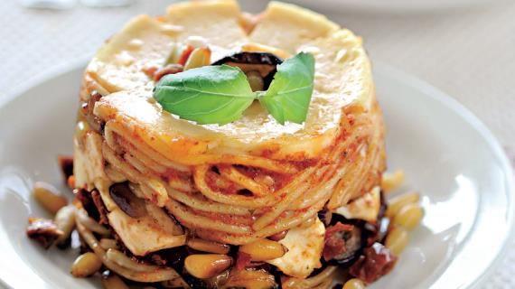 Тимбаллини из спагетти с баклажанами и кедровыми орехами. Пошаговый рецепт с фото на Gastronom.ru