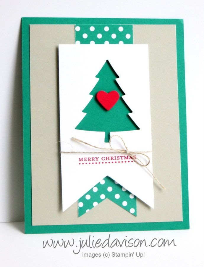 handmade Christmas card from Julie's Stamping Spot  ... clean and simple ... die cuts ... fishtail banners ... negative space tree ... great card!