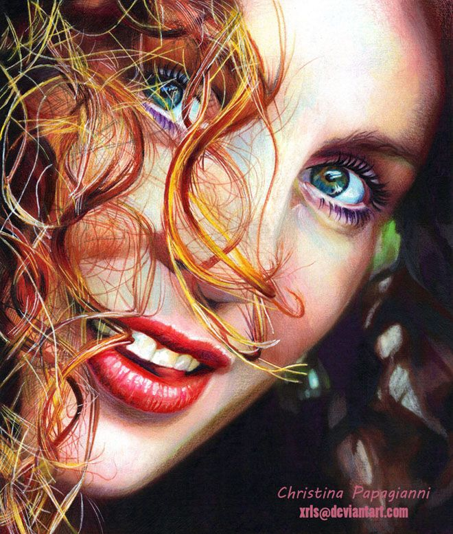HyperRealistic Color Pencil Drawings By Christina Papagianni - Artist uses pencils to create striking hyper realistic portraits