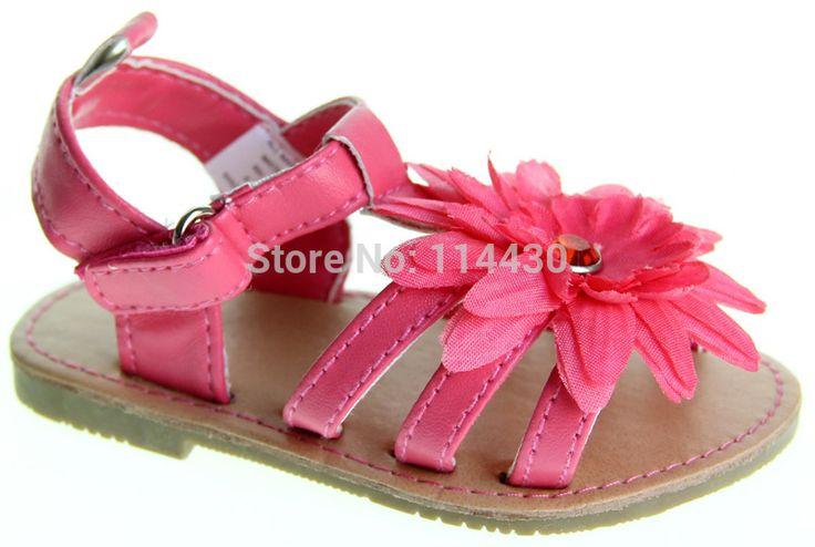 Чистая роза красная кожа цветок девочки сандалии впервые - ходунки обувь для возраста 0 - 18 мес. @ lw026 @