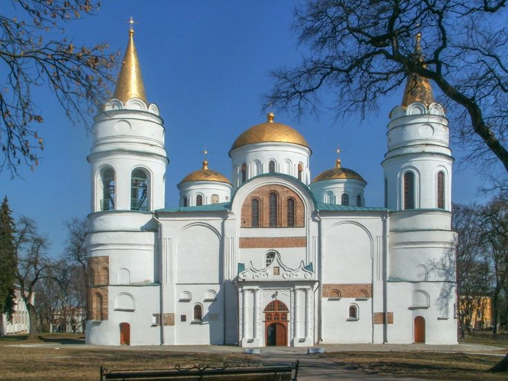 The Transfiguration Cathedral is the oldest building in Chernihiv, Ukraine, and one of the few survived buildings of pre-Mongol Rus. Construction of the cathedral was started by Prince Mstislav of Chernigov, and when he died in 1035, he was buried within its walls. The architecture of the cathedral is unusual and is a mix of a Roman basilica with a typical Byzantine church.