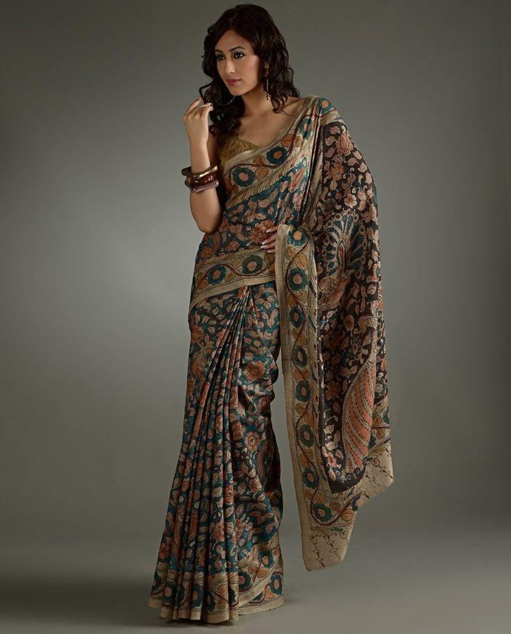 Cotton Saree with Kalamkari Print