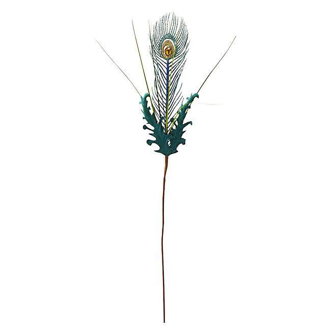 Noël Bohème Plume de paon décorative H 61cm