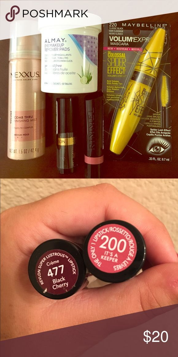 """Beauty Bundle All of these products are BRAND NEW NEVER BEEN USED!! Full size Rimmel lipstick in """"its a keeper"""", full size Revlon lipstick in """"Black cherry"""" (which is a beautiful awesome color for fall btw!!), full size Maybelline mascara, full size Almay eye makeup remover pads, and a travel size Nexxus hairspray. Again, all these products are brand new never been used. Price is firm. Makeup"""