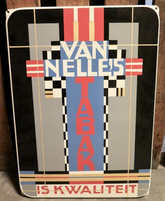Uniek exemplaar, reclame in Mondriaan stijl Van Nelle's Tabak Afmetingen : 34 x 47 cm. met 4 ophang-oren.
