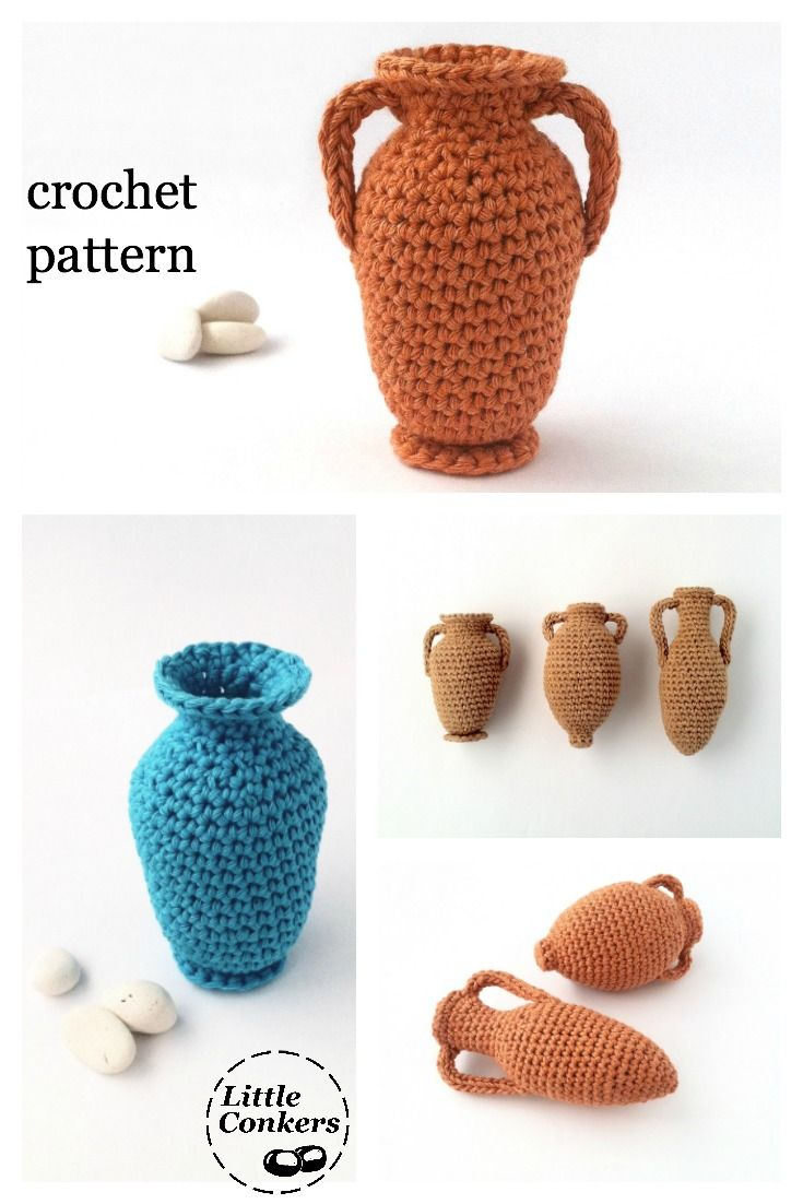 Three amphora crochet patterns by Little Conkers