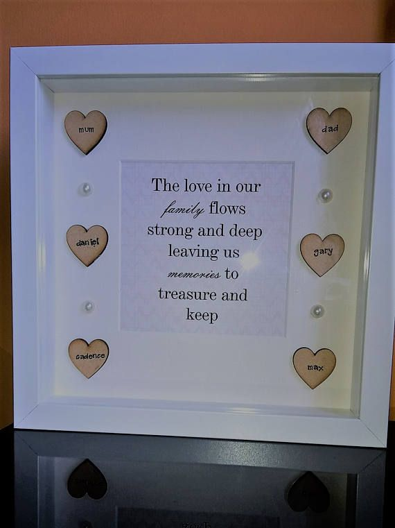 This gorgeous personalised frame is enhanced by the family quote in the centre. Each heart has a name in the centre being seperated with a simple yet effective pearl. The lovehearts in the frame can be personalised with any names. The quantity of hearts can range from 1 to 8. Frame