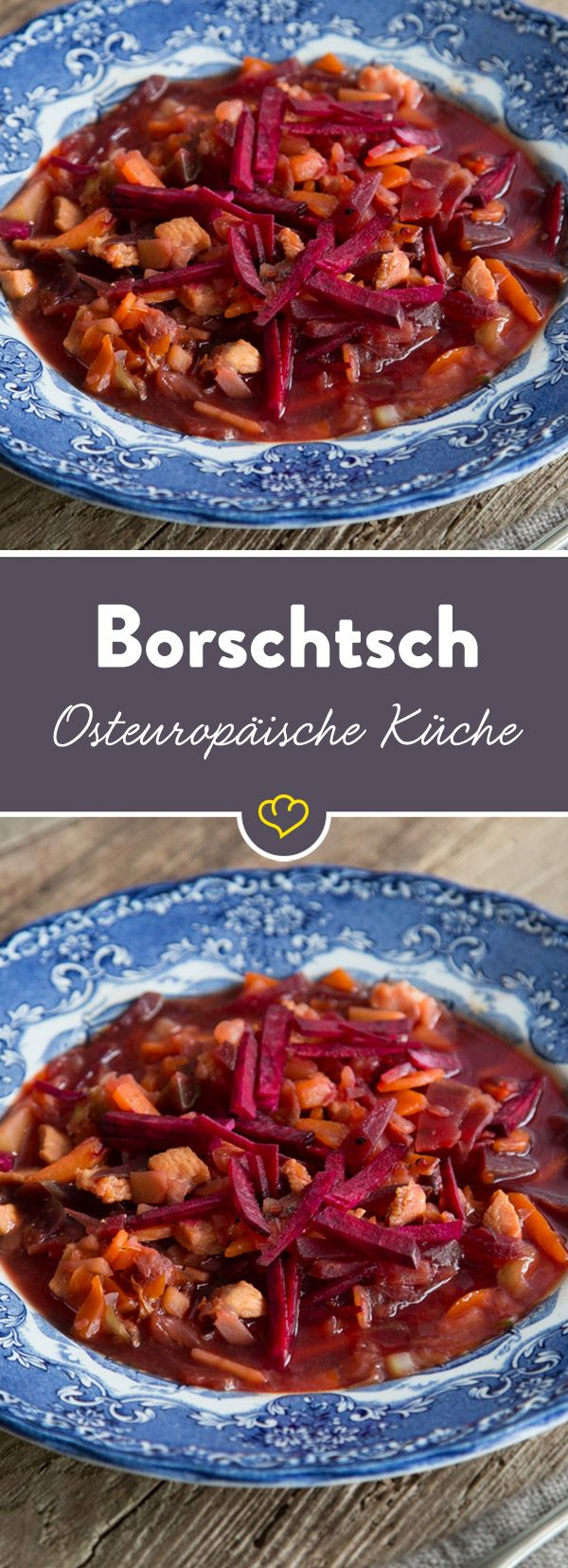 Borschtsch ist ein würziges Süppchen, das mit einer Kombination aus zartem Rindfleisch, deftigen Kartoffeln und süßer Roter Bete punktet.