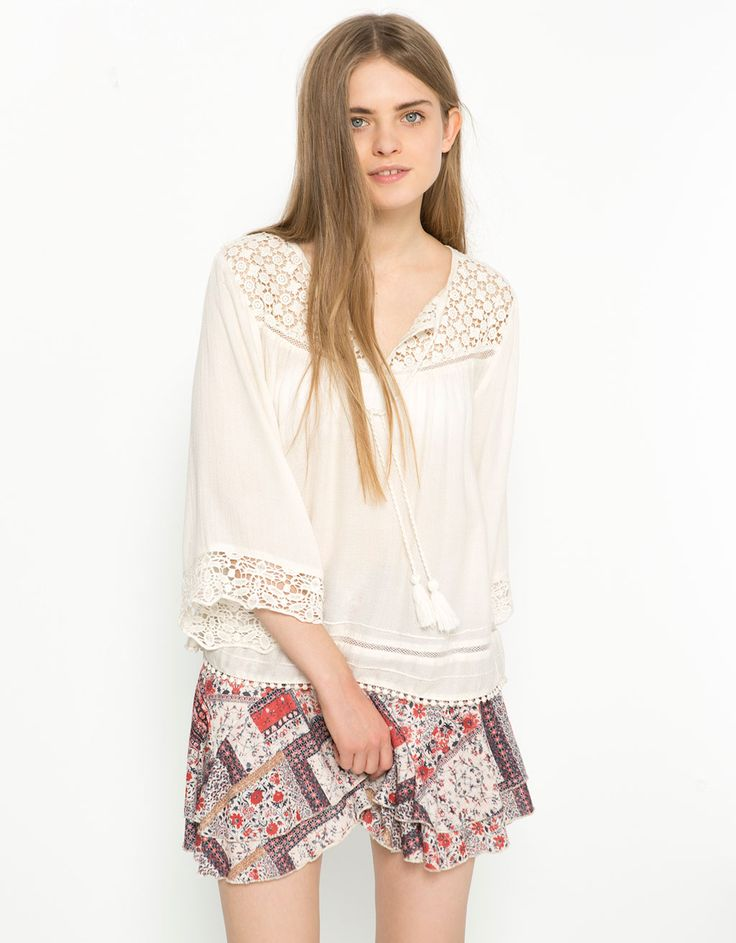 BSK lace detail crossover top - Shirts & Blouses - Bershka Turkey