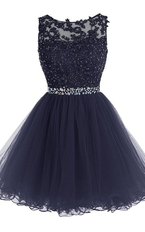 A Line Navy Cap Sleeve Beading Lace Crystal Appliques Sleeveless Tulle Mini Shot Homecoming Dress