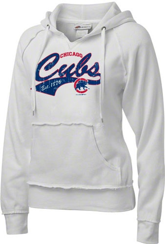 Chicago Cubs Women's Cooperstown White Brushed Fleece Hooded Pullover Sweatshirt