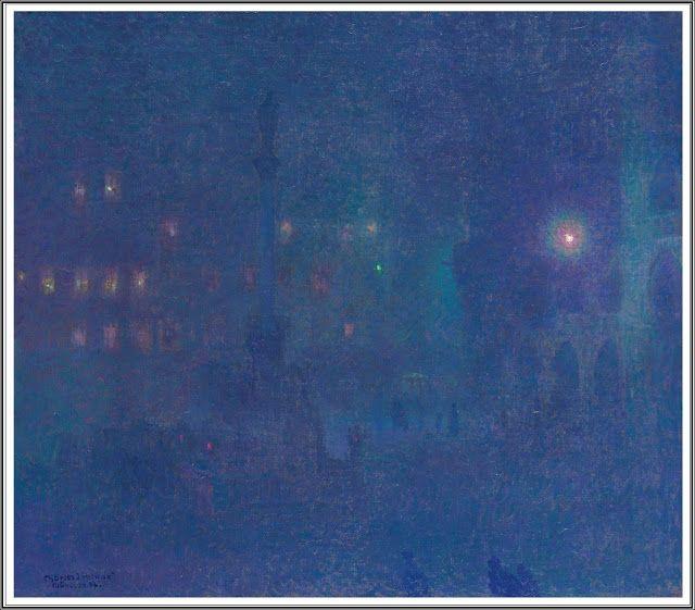 Charles Johann Palmié (1863-1911), Marienplatz à la Nuit, Munich - 1907