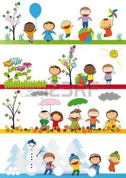 desenhos animados do jardim de infância: Primavera, verão, outono e inverno - miúdos felizes