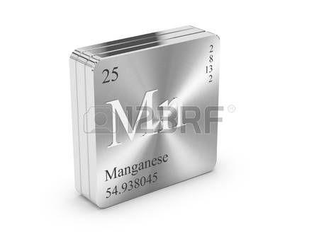 Manganeso - elemento de la tabla peri�dica en el bloque de metal de acero photo