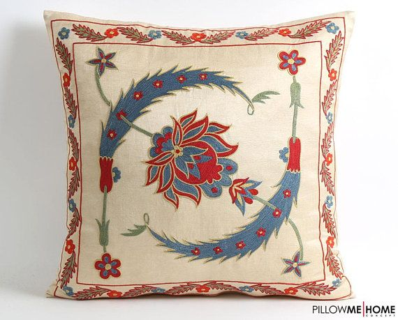 suzani pillow cover, modern cross