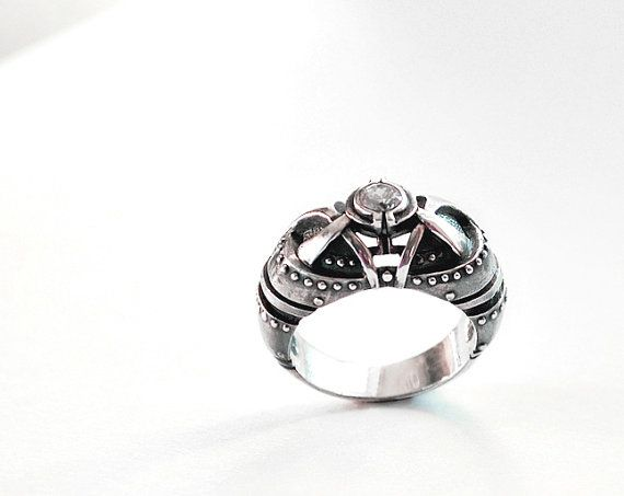 diamond silver steampunk art nouveau ring by gatojewel on etsy - Steampunk Wedding Rings