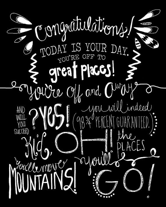 "Dr. Seuss ""Oh the Places You'll Go"": chalkboard art print"