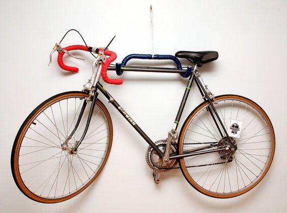 Bike Storage Idea - Wall-mounted handle bar bike rack by EH84.