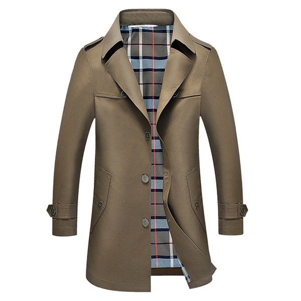 Spring Autumn Casual Classic Thin Long Trench Coat Mens Fashion Turn-down Collar Windbreaker